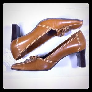 Franco Sarto Tan Shoes Square Toes Heels Size 10M